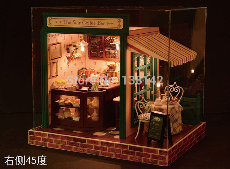 z005 star coffee bar miniature dollhouse doll wooden house Contain dust cover gifts diy free shipping star print refrigerator dust cover