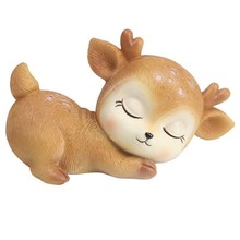 6Pcs Sleeping Baby Deer Statue Mini 3D Deer Figurine Resin Crafts Art Decor For Home Garden Car Table Decoration Ornament Kids(China)