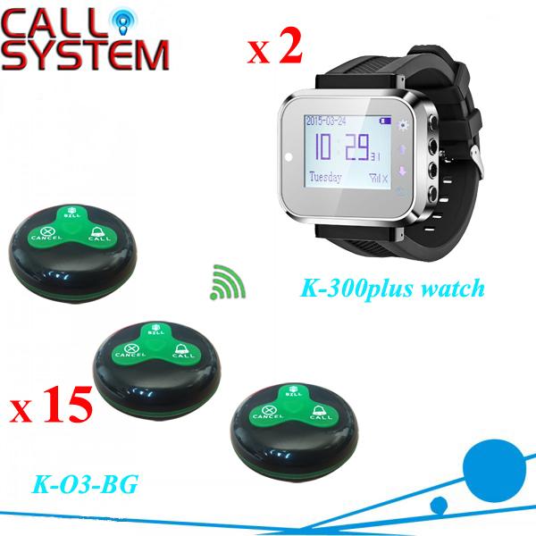 2 garçom sistema de pager de alarme Digital relógio de mesa 15 campainha