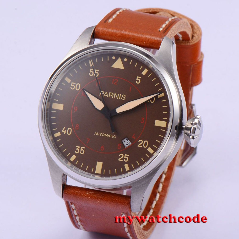 47mm parnis coffee dial date 21 jewels miyota 8215 automatic mens watch P580