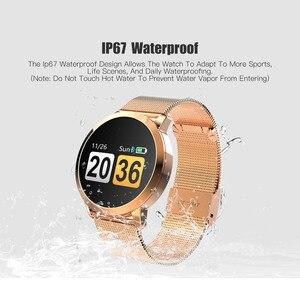 Image 4 - Q8/Q8 plus Smart Uhr OLED Farbe Bildschirm Smart Elektronik Smartwatch Mode Fitness Tracker uhr Herz Rate Bluetooth pk l8