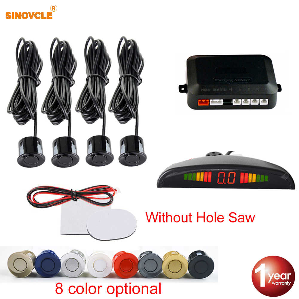 Sinovcle Car Parking Sensor Parktronic LED Monitor System 4 Sensors 22 mm Reverse Backup Radar Without Hole Saw 8 Colors