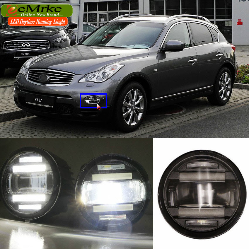 eeMrke Car Styling For Infiniti EX J50 EX35 EX37 QX50 2in1 Multifunction LED Fog Lights DRL With Lens Daytime Running Lights for infiniti fx35 37 45 50 ex35 37 h11 wiring harness sockets wire connector switch 2 fog lights drl front bumper led lamp