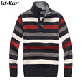 LetsKeep 2016 mens Striped pullover sweater winter thick computer knitted sweater men casual stand collar wool sweaters.MA269