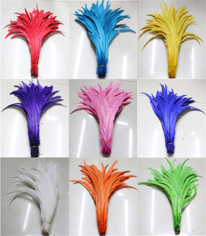 Free Shipping 500pcs lot coque feather mix color Dyed chicken feather 35 40cm 14 16 inches