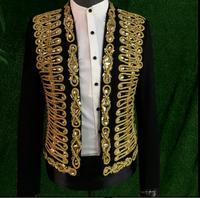 Gold ribbon mens suits designs masculino homme terno stage costumes for singers men blazer clothes jacket star style dress punk