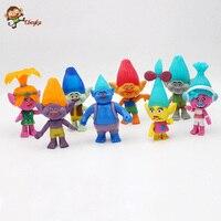 8 pcs/lot 10 12 cm trolls film pavot branche statue pvc figurines collection poupées anime figurines enfants jouets pour garçons gir