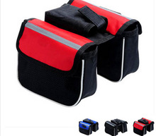 Bike Bicycle Frame Pannier Cycling Front Tube Frame Bag Waterproof 2 Colors Double bags With Phone Holder Bicycle Accessories
