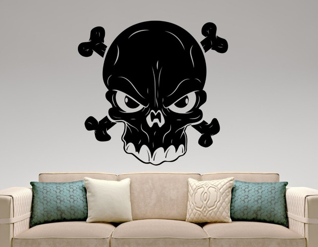 Doubled Bones Cool Wall Sticker With Art Designed Skull Silhouette Special Wall  Decals Home Livingroom Modern
