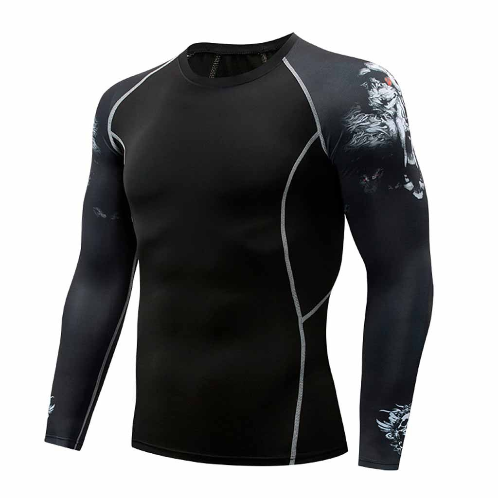 Sports men's clothing running fitness Fashion Men's Long Sleeve Yoga Fitness Print Casual T-Shirt Sport Top Blouse outdoor