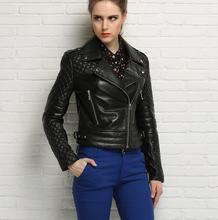 Spring black fashion motorcycle genuine leather jacket womens sheepskin jackets and coats slim oblique zipper short clothes