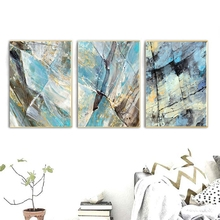 Blue Abstract Canvas Prints 3 Panels Artwork Wall Art Oil Paintings Print on Modern Home Decoration Dropshipping