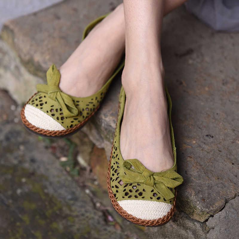 a7f2ec5facda0c Artmu Fashion Bow Women Shoes Handmade Genuine Leather Shoes Woman Flats  Sweet Hollow Lady Loafers Female