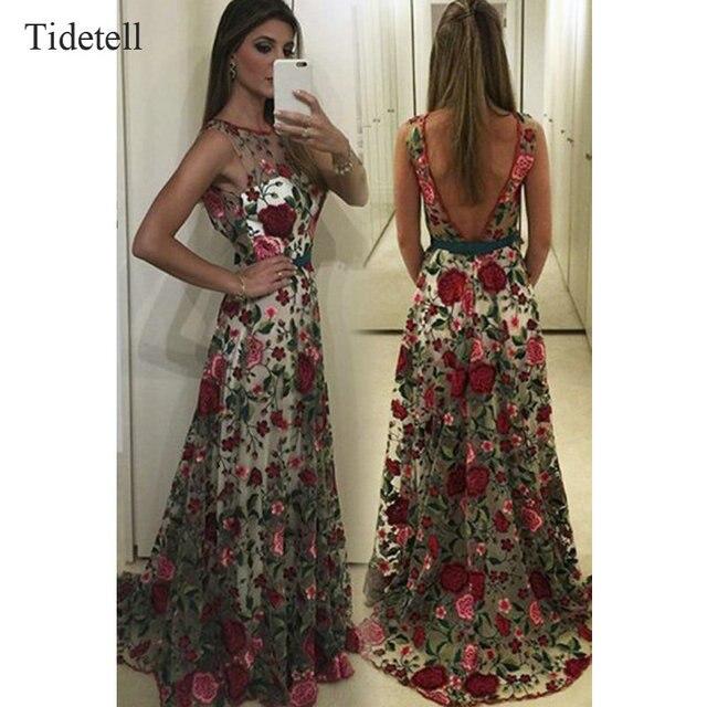 quality design 89658 0c6ad US $209.99  Tidetell nuovi vestiti lunghi da promenade con stampa floreale  rosso aperto indietro vestiti da partito sexy pavimento lunghezza telai ...