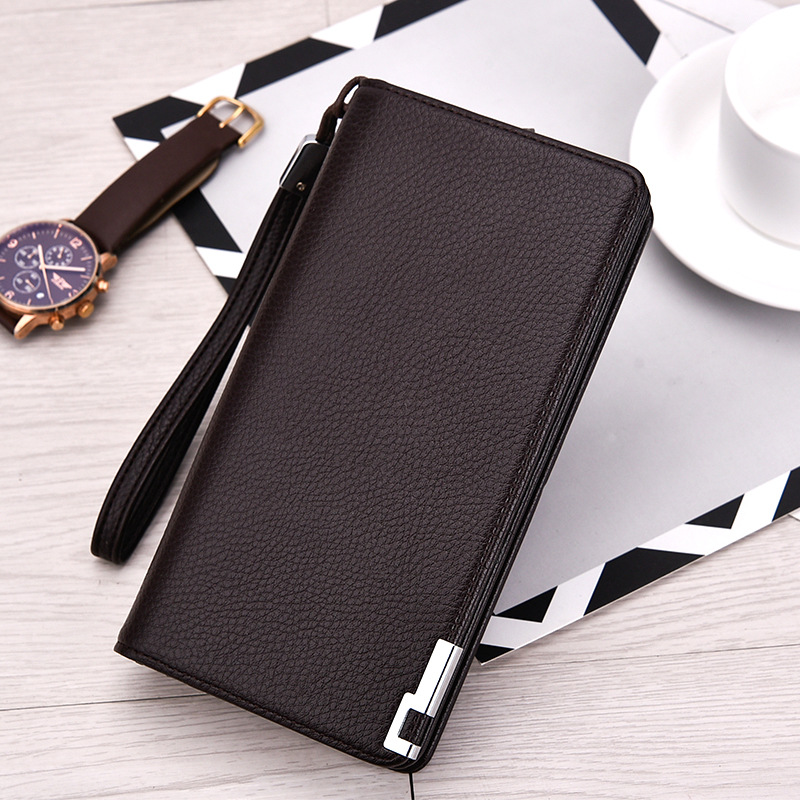 Fashion Leather Men Wallets Zipper Money Clip Male Walet Fashion Male Purses Long Phone Wallet Mans Clutch Bags BB189