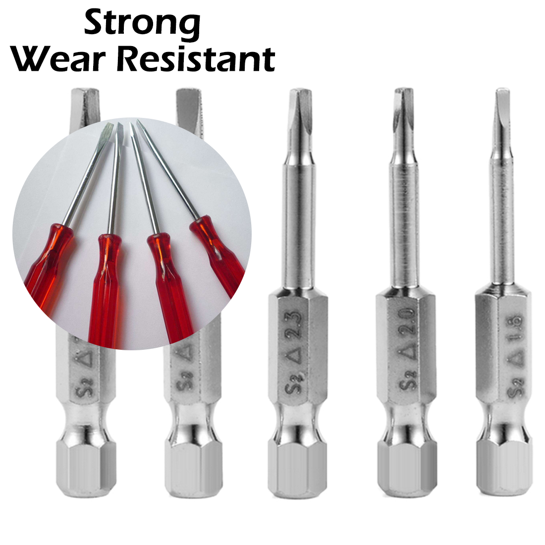 Electric Screwdriver Head 5pcs S2 Alloy Steel Triangular Screw Bits Magnetic Screwdriver Bit Anti Slip Triangle Screw Head