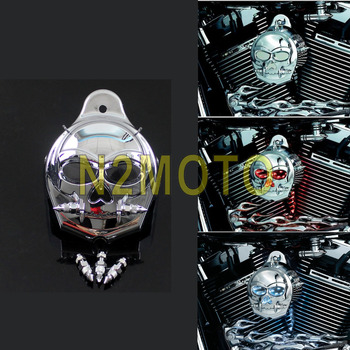 Motorcycle Chrome Zombie Horn Cover Skull Cowbell Horn Guard for Harley Davidson 1992-2017 Flasher