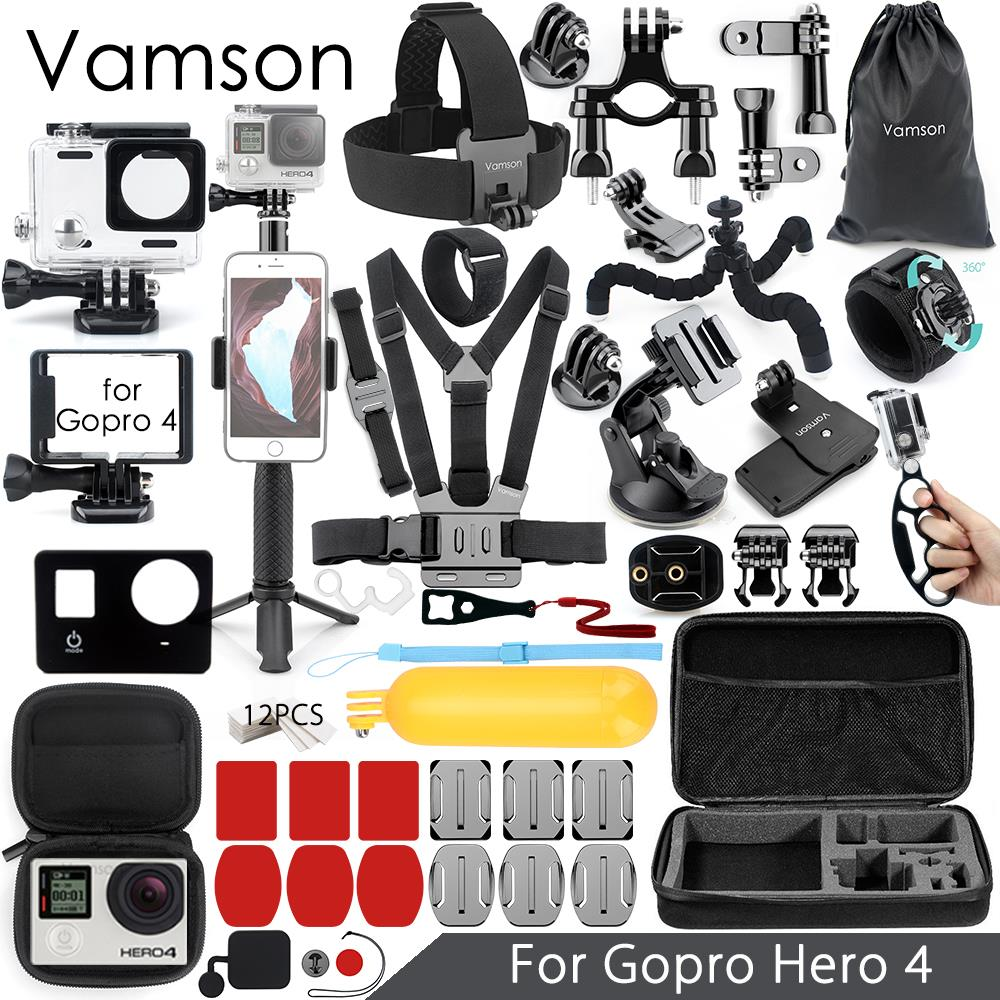 Vamson for Gopro Hero 4 Accessories Set Super Kit Waterproof Housing case Tripod Monopod for Go pro hero 4 Action Camera VS08