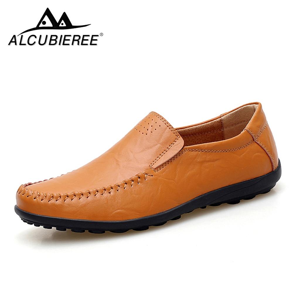 ALCUBIEREE Men Casual Shoes Leather High Quality Men Shoes Comfortable Wild Summer Zapatos Hombre goorin bros men s wild beaver