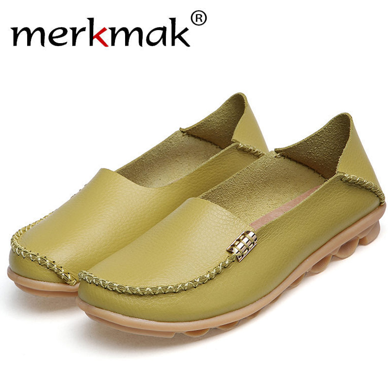 Merkmak Women's Shoes Real Leather Casual Loafers Slip-On Flats Footwear Fine Plus Size Driving Dress Moccasins Ladies Wholesale siketu sweet bowknot flat shoes soft bottom casual shallow mouth purple pink suede flats slip on loafers for women size 35 40