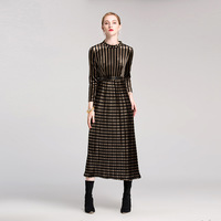 2018 Spring Major Suit With Fund Long Fund Pleuche Dress Belt Will Code Easy Bouffancy Longuette