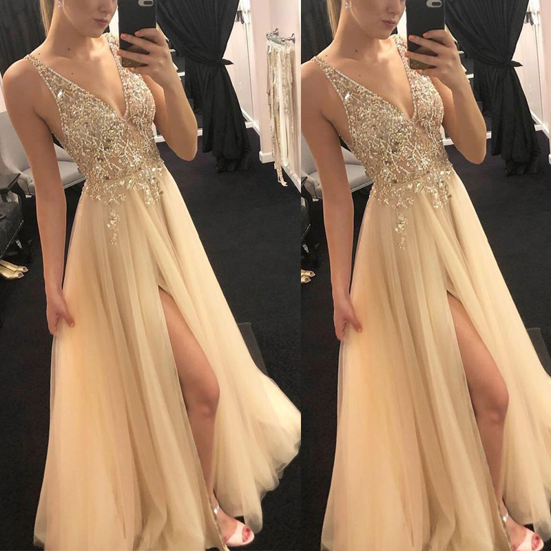 V Neck Gold Sequined Evening Party Dress Maxi Dresses Floor Length Elegant Summer Sequin Dress Gown Party Night Club Dresses