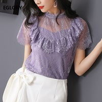 High Quality Lace Blouse 2019 Spring Summer Fashion Lace Tops Women Ruffle Floral Short Sleeve Blace Purple Lace Blusas Female