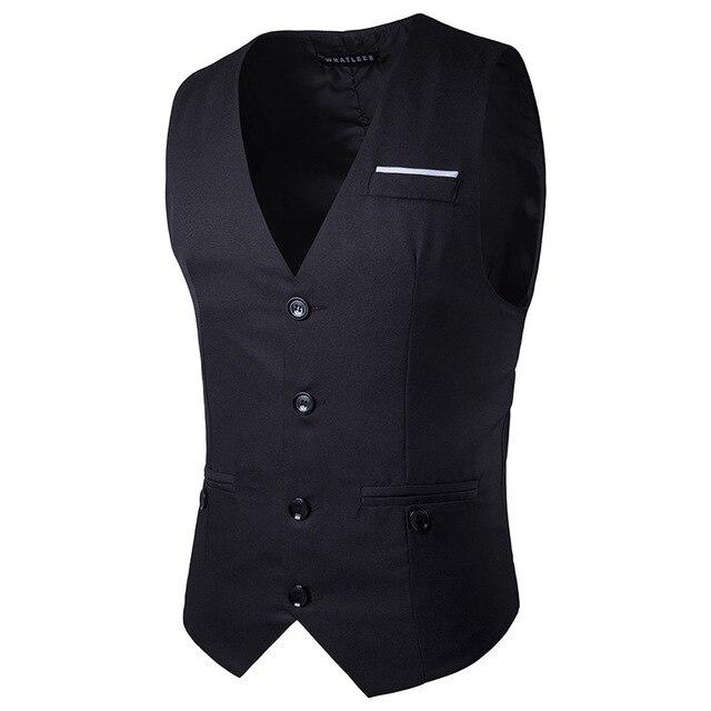 Formal Men Suit Vest Dress Vests Gilet Homme 2017 Spring New Single Breasted Waistcoat Men Casual Slim Fit Sleeveless Jacket XXL