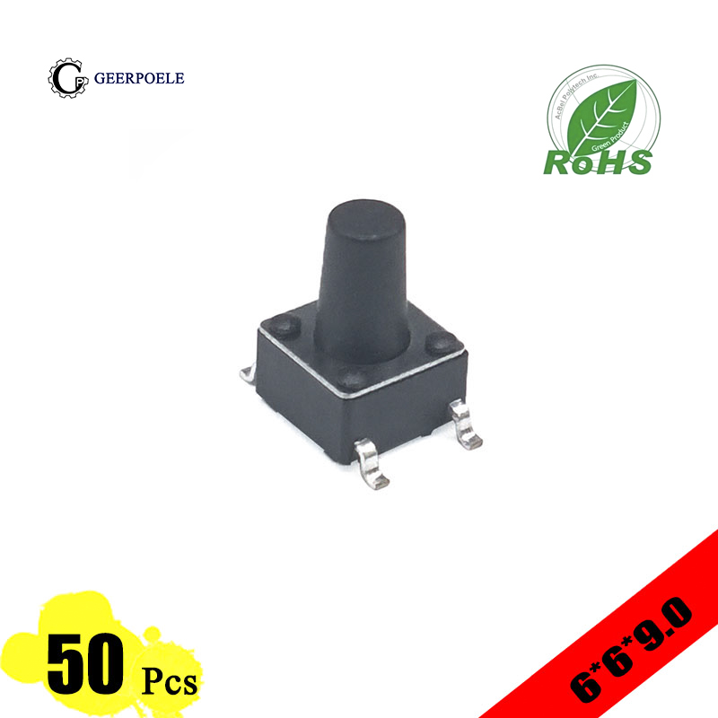 50 pieces/lot 6*6*9.0mm 4 PIN Tactile Tact Push Button Switch Direct Plug-in Self-reset Top SMT Micro Switch