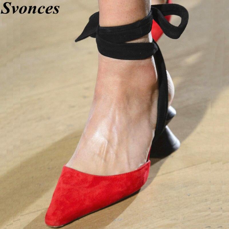 Ayakk.'ten Kadın Pompaları'de Yeni Gelenler Kırmızı Süet Yüksek Topuklu Dans parti ayakkabıları Garip Tarzı Tıknaz Pompaları Arkası Açık Iskarpin Strappy Lace Up Gelinlik Ayakkabı'da  Grup 1