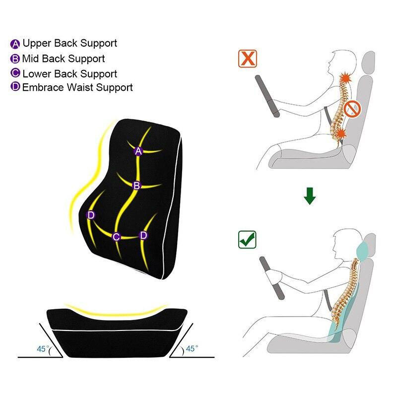 AUTOYOUTH voiture soutien lombaire oreiller et voiture appui-tête cou oreiller Kit-soins de santé soutien lombaire universel ajustement majeur sièges auto - 4