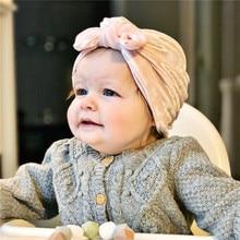 8M 3Y dziecko Turban niemowlę maluch z miękkiego aksamitu Bowknot Turban Baby Boy dziewczyna Bunny Hat dzieci jesień muzułmanin kapelusz zdjęcie dziecka rekwizyty