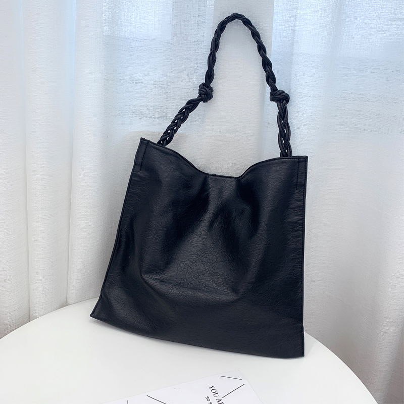 Casual Woven women handbag Large capacity PU leather Women's big Totes female Shoulder bags black Bucket bags bolsas femininas