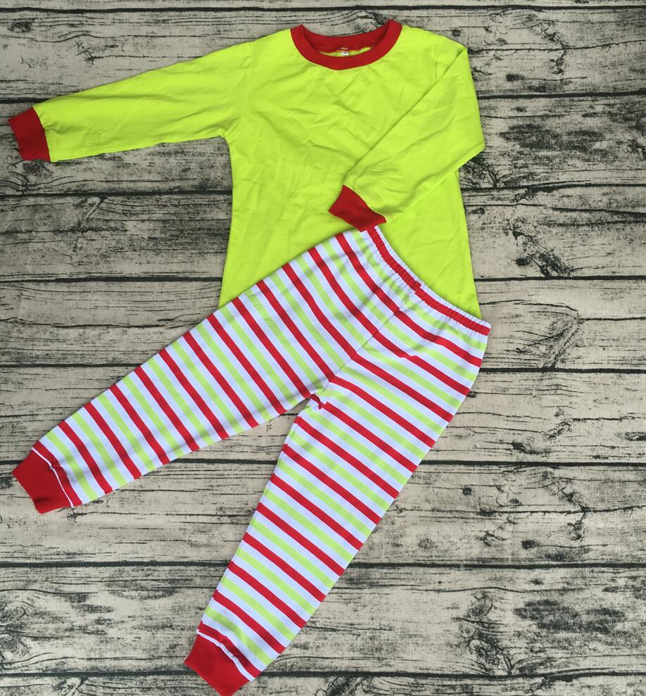 Boutique toddler kids bulk wholesale clothing Pajamas set red &lime stripe mommy and Daddy kids family christmas pajamas