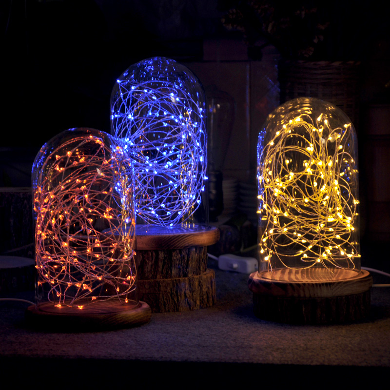 LED Decorative Reading Lamp Starry Sky Night Light Solid Wood Glass Creative Birthday Gift
