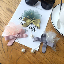 Korea New Handmade Modern Yarn Flower Bowknot Brooches Pins Badges Fashion Jewelry For Woman Suits Accessories-YHGWBH009F