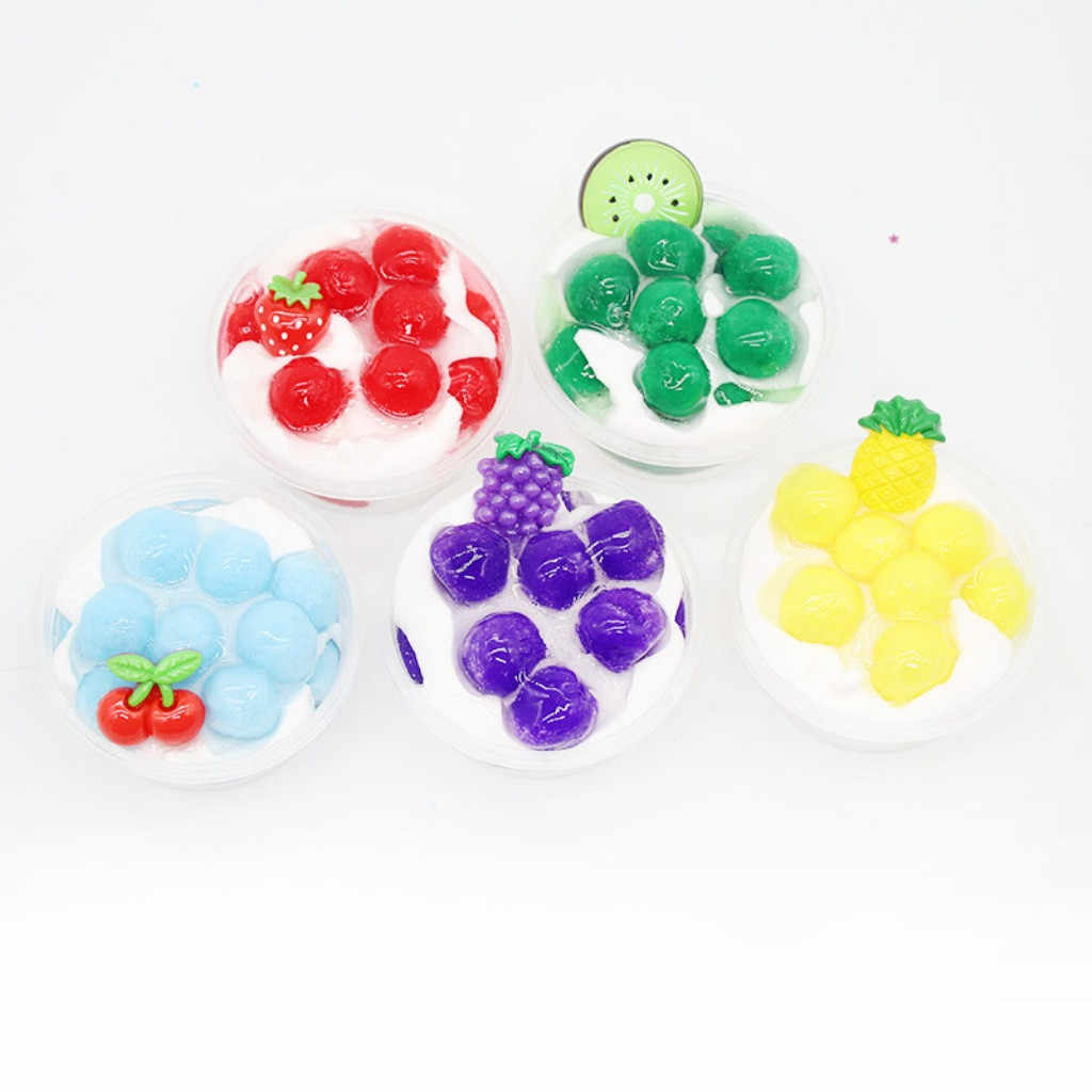 Children's Fruit Ice Cream Decompression Clay Crystal Mud Toy 60ml New Ice Cream Cotton Mud Fruit Slim Pineapple Crystal Mud