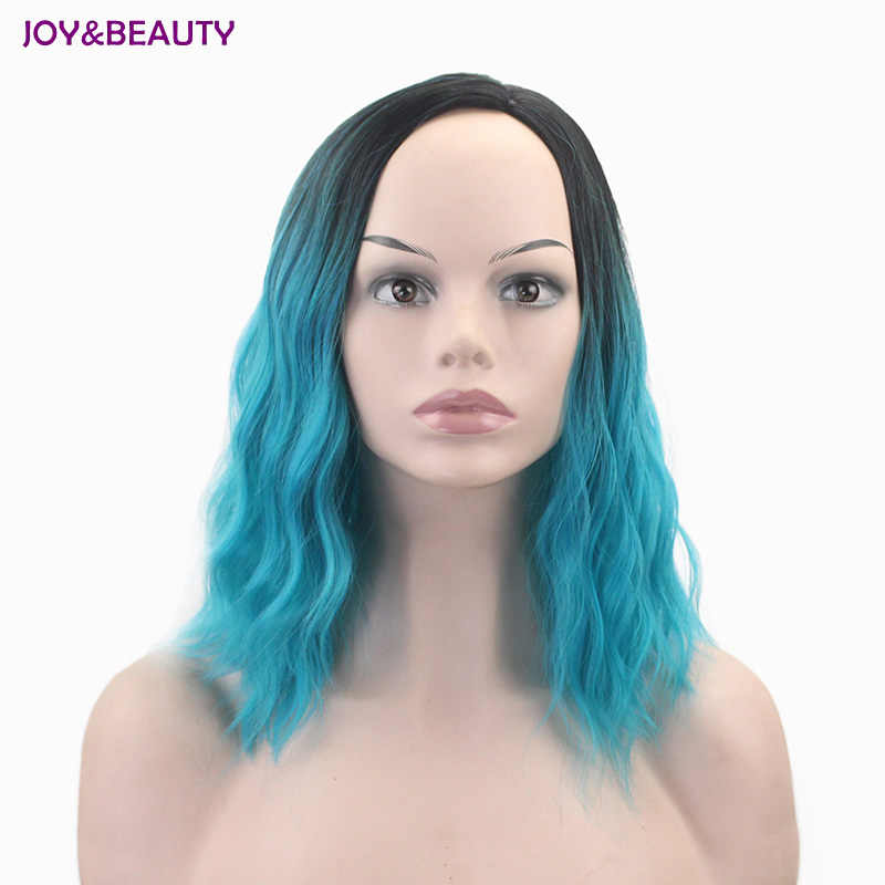 JOY&BEAUTY Black Green Dyed Gradient Short Curly Hair 16 Inch Short Hair Fake High Temperature Fiber Synthetic Hair Female Wig
