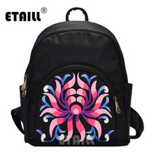 ETAILL Fashion Chinese Style Ethnic Embroidered Nylon Backpack School Bag for Teenage Girls Black Nylon Female Backpacks Mochila noenname chinese national style cow leather bag ladies and girls backpack tassel handmade ethnic flowers embroidery backpacks