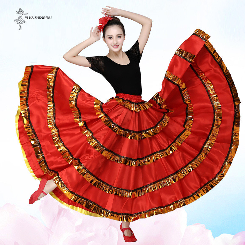Adult Women Belly Dance Costume Long Dance Skirt Spain Bullfighting Dance Bellydance Big Swing Skirt Performance Gypsy Dancewear