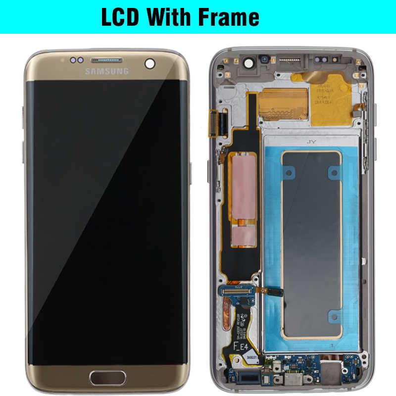 100% الأصلي 5.5 ''شاشة لسامسونج غالاكسي S7 حافة شاشة الكريستال السائل G935F SM-G935FD مجموعة رقمنة اللمس استبدال أجزاء