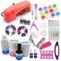 Pro 9w Pink Lamp Nail Art UV Gel pink clear white Kits Top Coat with acrylic powder liquid Glitter Brush nail acrylic set Tools
