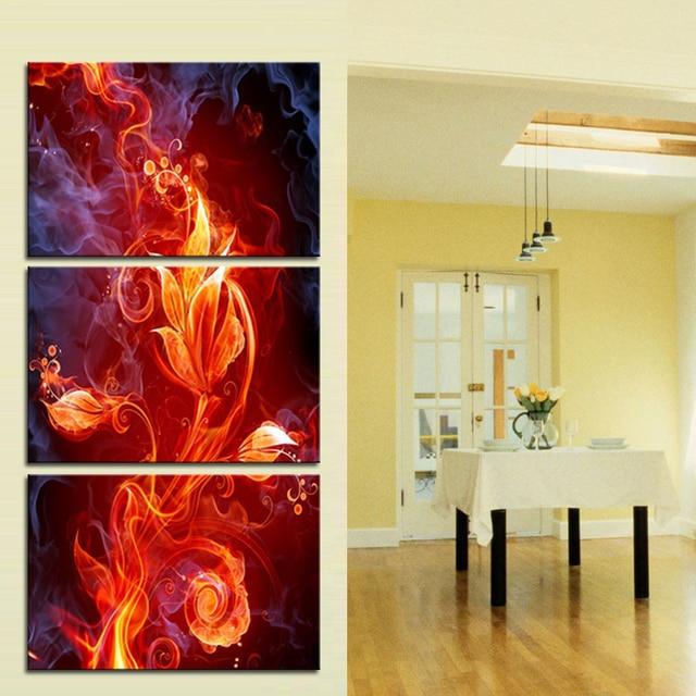 3 Stücke Leinwanddrucke Einzigartiges Kunst Design Flamme Blume ...
