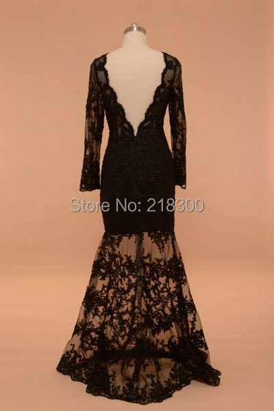 Kim Kardashian Black Lace Prom Dress Long Sleeves Open Back Fitted See through formal Dress