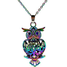 C132 Rainbow Color 41mm Big Owl Magnetic Beads Cage Pendant Locket Necklace Aroma Essential Oil Diffuser-Fun Gift(China)