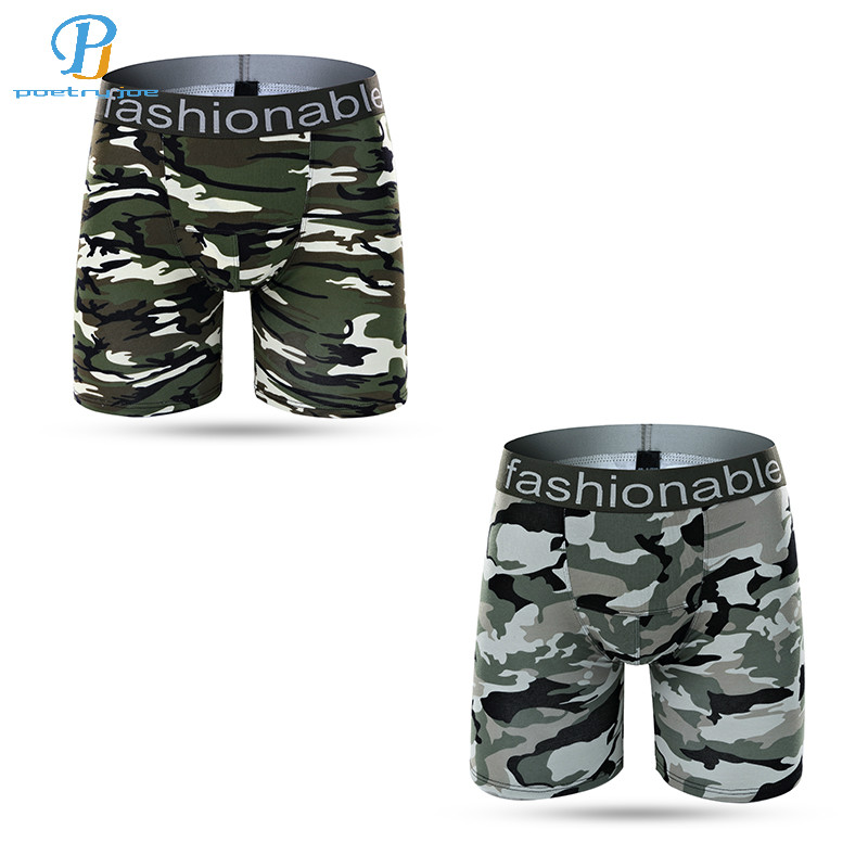 Underwear & Sleepwears 2pcs/lot Men Underwear Boxer Lengthened Cotton Anti-wear Leg Underwear Flat Pants Camouflage Pants Shorts Panties Brand Boxers