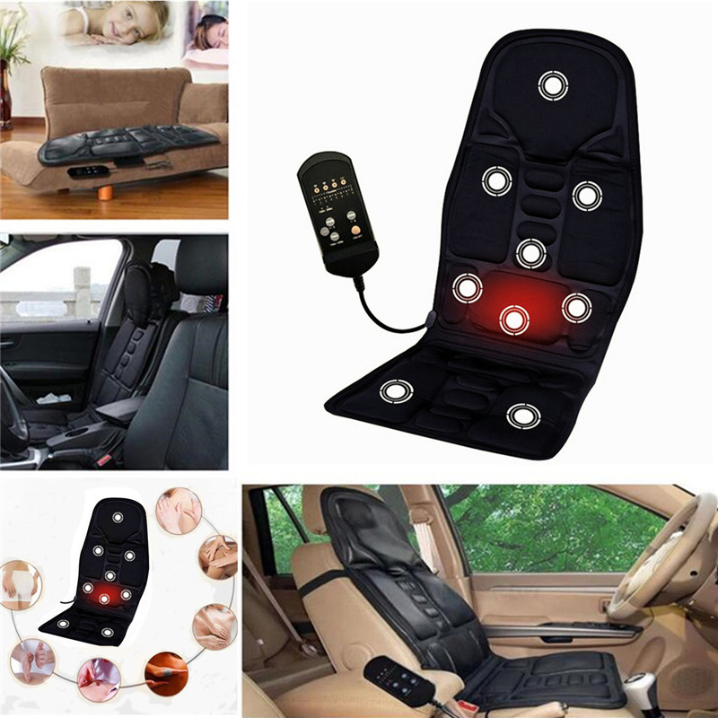 Car Electric Heated Massage Seat Cushion Pain Neck Waist Relaxation Vibration Massager Pad Car Office Full Body Massage Seat