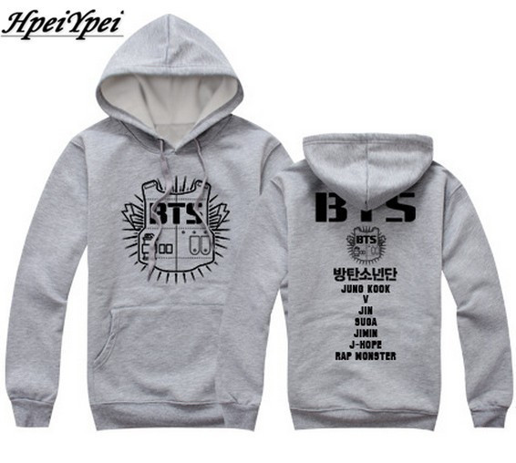 Kpop bts concert hoodies bangtan boys shield and all member names printed pullover men women sweatshirt plus size suit