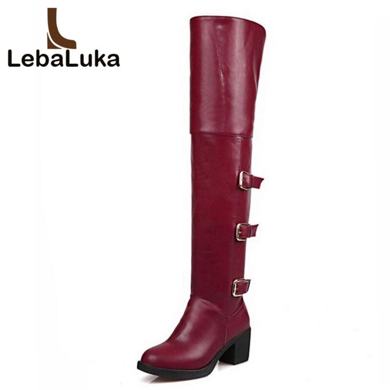 ff22b34e6 LebaLuka женские ботинки на высоком каблуке модные стринги с пряжкой и молнией  Сапоги выше колен (ботфорты) зима Мода теплая обувь женская обувь.