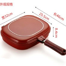 Антипригарная сковорода для блинов алюминиевая Двойная Сторона Флип Сковорода/гриль красная двойная сковородки с длинной ручкой с очень длинная ручка